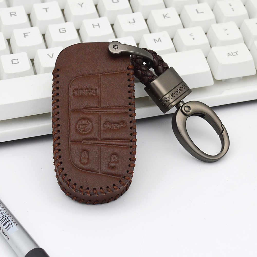 Leather Car Key Cover Case Holder For Fiat Wyatt Freemont 500X Toro Nuovo Grazie Chrysler 200 300 For TIPO For Dodge Ram 1500