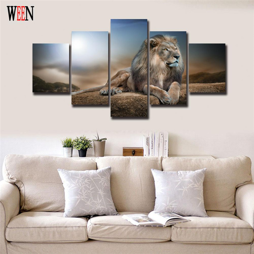 Home Furnishing Websites: ᓂLion Canvas Painting HD ᐃ Printed Printed Animals Group