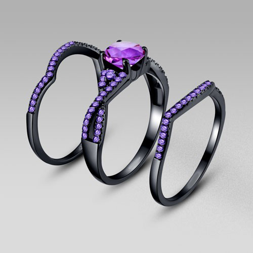 RN3045 Turkish Engagement Couple Rings Purple Cubic Zirconia Black