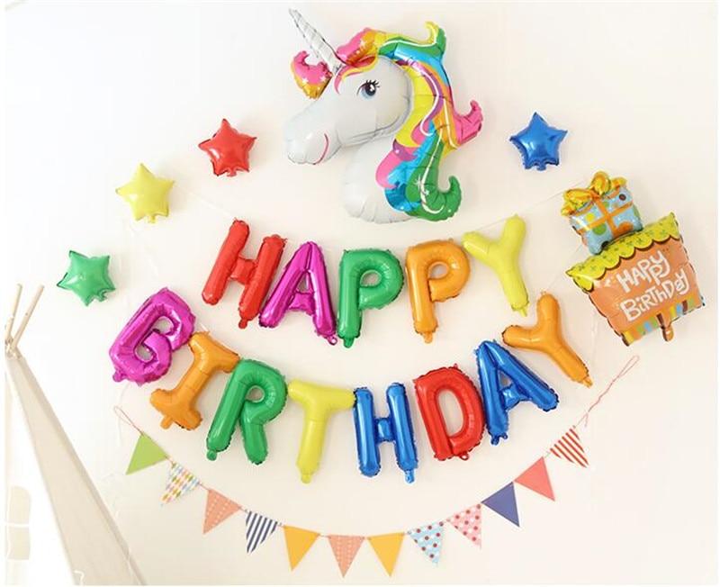 Cartoon Hat Unicorn  Balloons Letter Happy Birthday Balloon Air Ball Inflatable Toy Wedding Party Happy Birthday