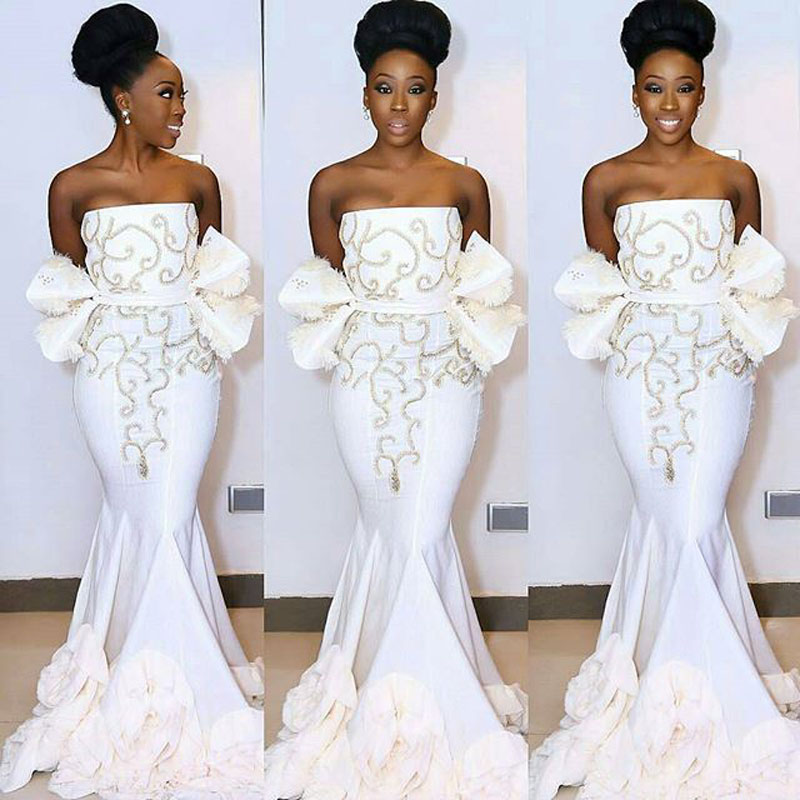 1c04e8c8873a Pleat South Africa White Evening Dress Mermaid Nigerian Prom Gown  abendkleider 2017 Formal Party Gowns Off The Shoulder Ruffles