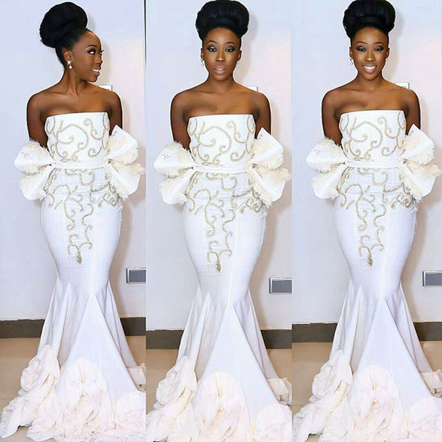 7493430437e66 Pleat South Africa White Evening Dress Mermaid Nigerian Prom Gown  abendkleider 2017 Formal Party Gowns Off The Shoulder Ruffles