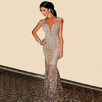 Luxury Crystal Evening Dress Lace Appliques Mermaid Champagne Dress Plus Size Bridal Evening Dress Long Formal Dress Party Gowns 2