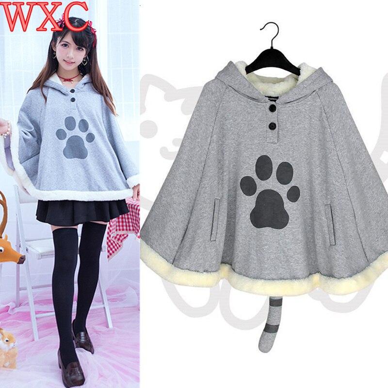 Harajuku Neko Atsume Cosplay Cloak Winter Cute Cat Hoodies Coat Daily Fleece Cloak Xmas Gift Lolita Tops WXC