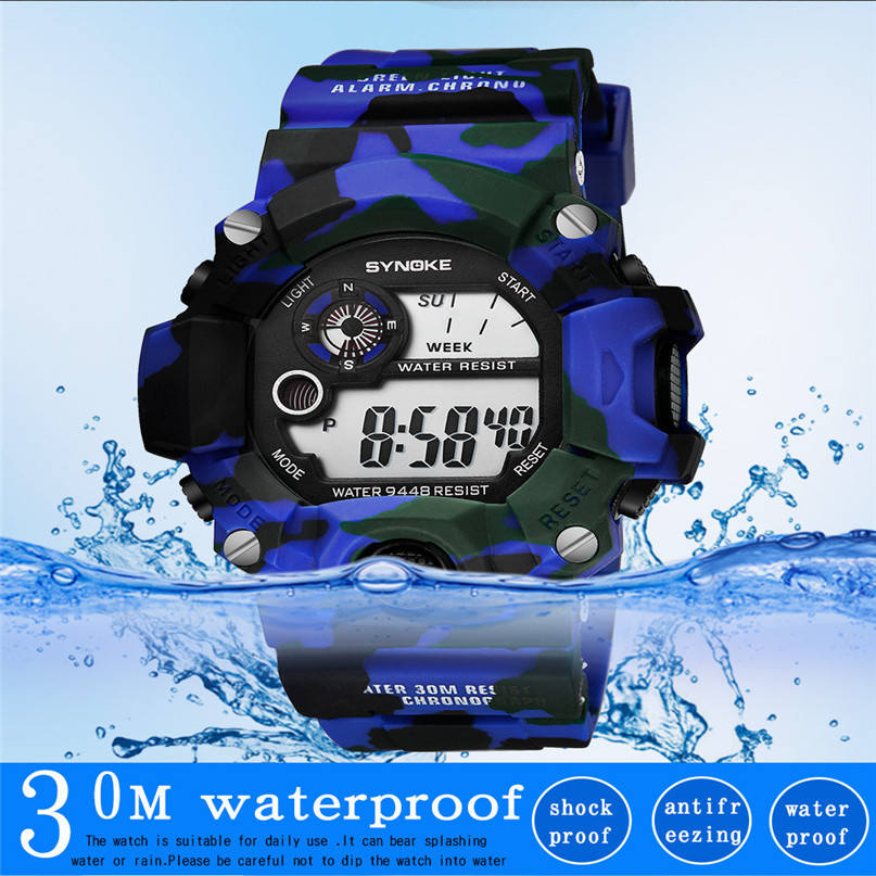 LED Sport Watch for Men military Waterproof Altimeter Compass Wrist Watch Stopwatch Fishing Barometer Pedometer Male Watch #4M10