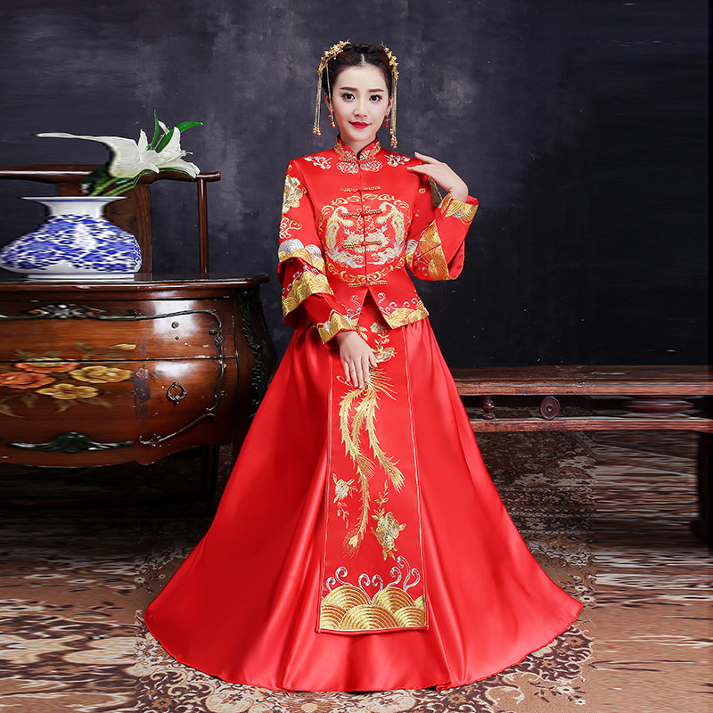 Red Traditional Chinese Clothing Women Tradition Ladies Embroidery Phoenix Cheongsam Qipao Wedding Oriental Evening Dress Robe все цены