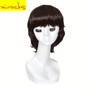 3195Xi.Rocks Short Straight Synthetic Wigs With Bangs Dark Blonde Bob Wig Short For Black White Women Girl Heart Resistant Fiber