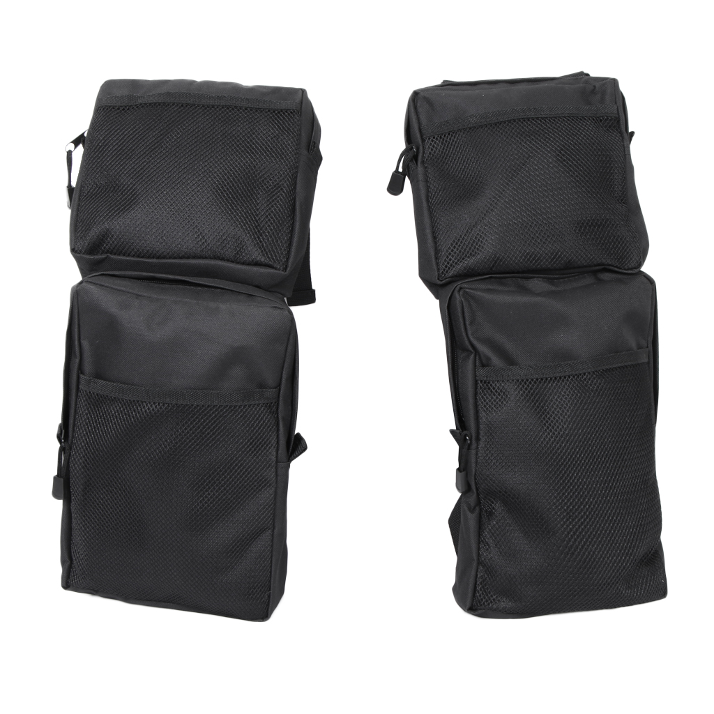 2Pcs ATV Fender Bag Heavy Duty Hand Tools Cell Phone Storage Pocket ATV Parts Accessories For Carrying Storing Black