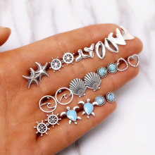 Fashion 12 pair/set Women Shell Turtle Crown Heart Stud Earrings for Women Boho Wave Metal Round Stone Earrings Mix Jewelry(China)