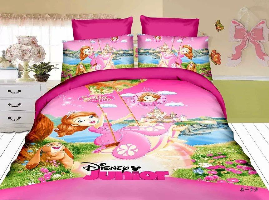 Doux rose couleur sofia fille imprimer ensembles de literie unique double taille couvre-lit pour enfants décor à la maison couette housse de couette 3pc pas de remplissage