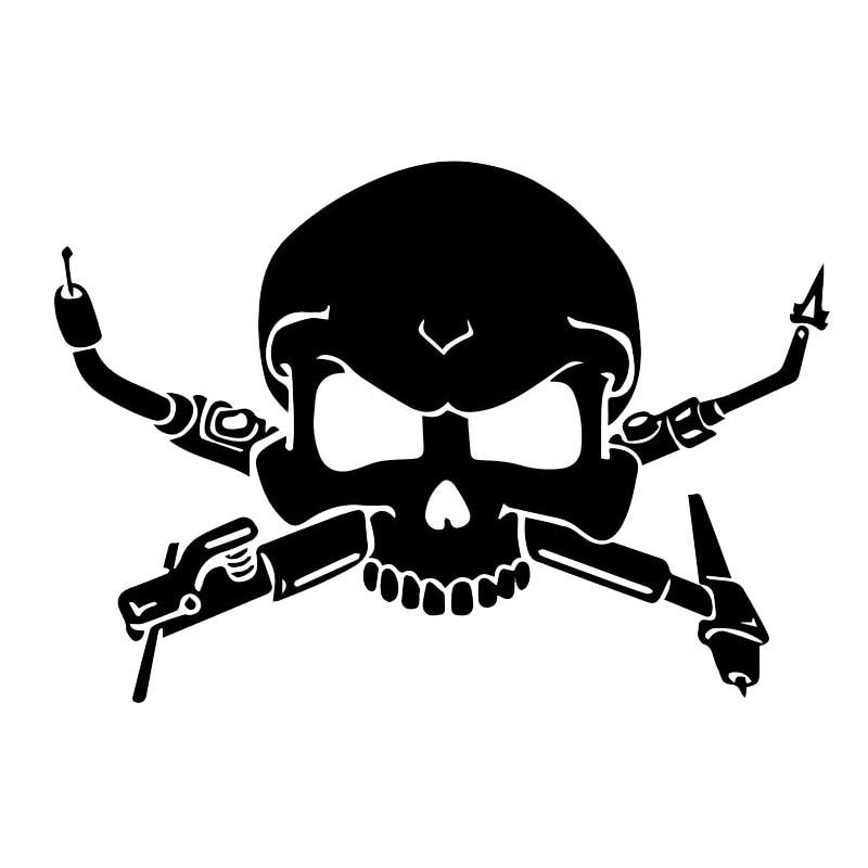 12.7*8.9 см интересные сварщиков череп наклейки автомобиль стильный мотоцикл Виниловые наклейки черный/серебристый С7-0940