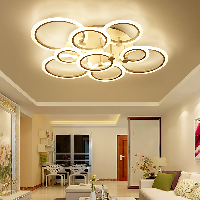 Rings White black chandeliers LED circle modern chandelier lights for living room avize acrylic Lampara de techo indoor Lighting rings white black chandeliers led circle modern chandelier lights for living room avize acrylic lampara de techo indoor lighting