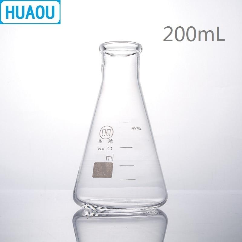 HUAOU 200mL Erlenmeyer Flask Borosilicate 3.3 Glass Narrow Neck Conical Triangle Flask Laboratory Chemistry Equipment