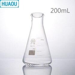 HUAOU 200mL kolba erlenmeyera borokrzemian 3.3 szklana wąska szyjka stożkowa trójkąt kolba laboratorium chemia sprzęt w Kolby od Artykuły biurowe i szkolne na