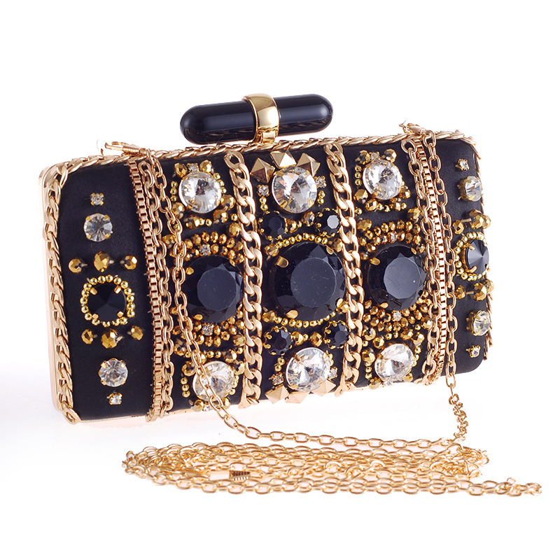 Vintage Chain Beaded Accessory Women Evening Bags Metal Clutches Handbags Messenger Evening Bags For Party pu women messenger chain shoulder handbags beaded handmade style metal diamonds evening bags leather fashion purse bags