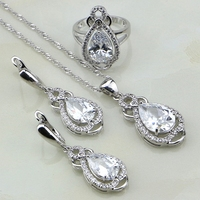 Water Drop White Australian Crystal 925 Sterling Silver Jewelry Sets For Women Engagement Earrings Pendant Necklace