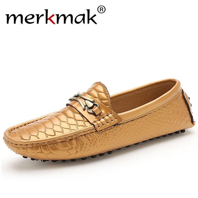 f5cfba4eb2c0e Merkmak Brand Shoes Luxury Fashion Men Shoes Alligator Genuine Leather  Loafers Men Casual Driving Shoes Mens