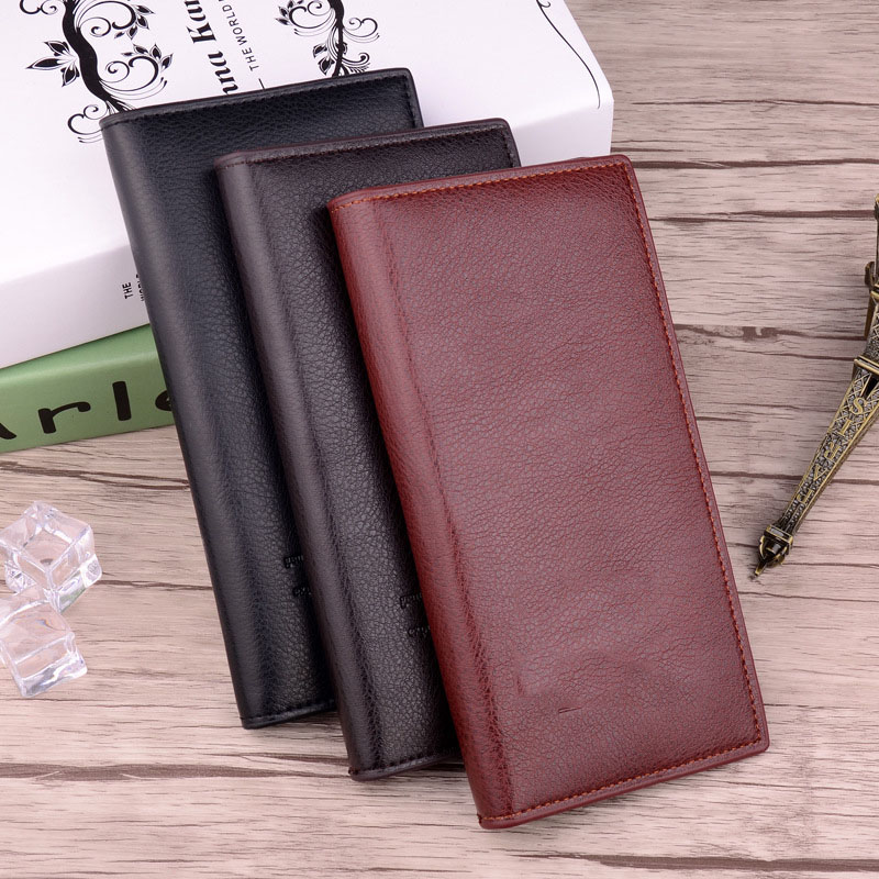 Mens Large Wallet Loose Leaf Style Business Style Big Capacity Casual Stylish Solid-Colored Mens Wallet