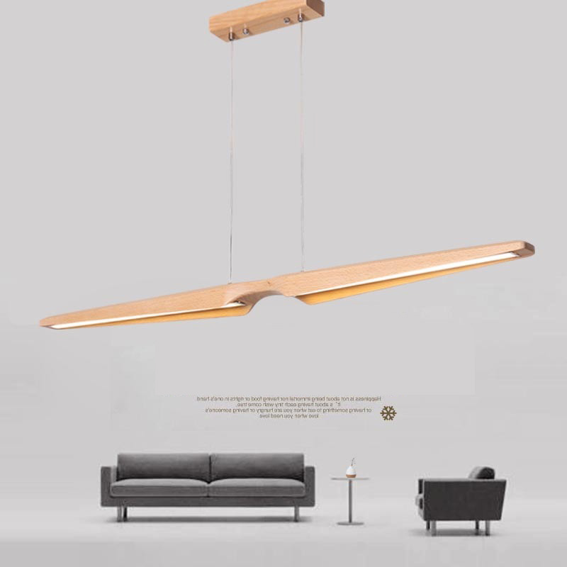 Modern Wood LED Pendant Light Beech Wooden Linear Long Hanging Lamp Nordic Lighting Fixture for Dining Room Kitchen Bar Office