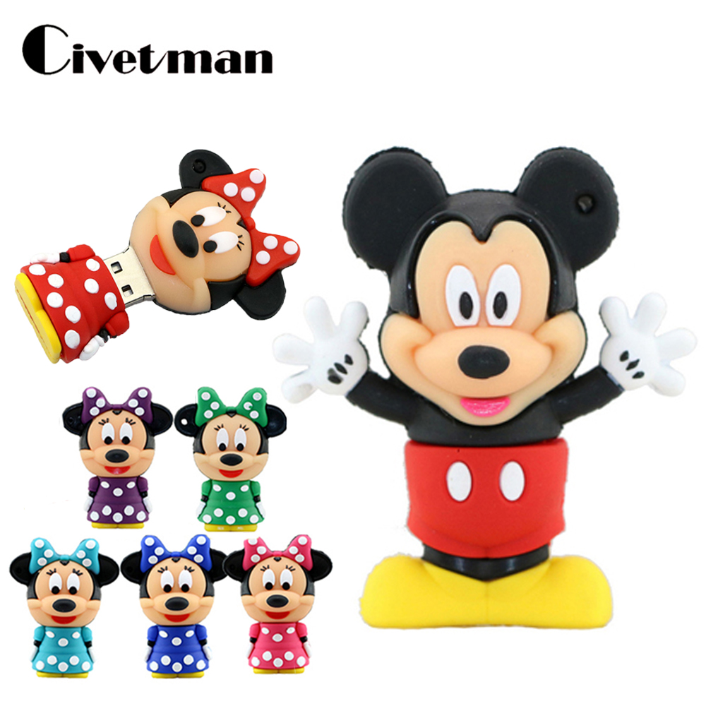 Pendrive Cartoon Cute Mickey Minnie Mouse USB Flash Drive 4GB 8GB 16GB 32GB 64GB USB Stick External Memory Storage Pen Drive