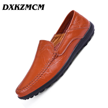 DXKZMCM Casual Shoes Men Loafers Leather Flat Slip on Shoes Men Moccasins Sneaker Footwear Male