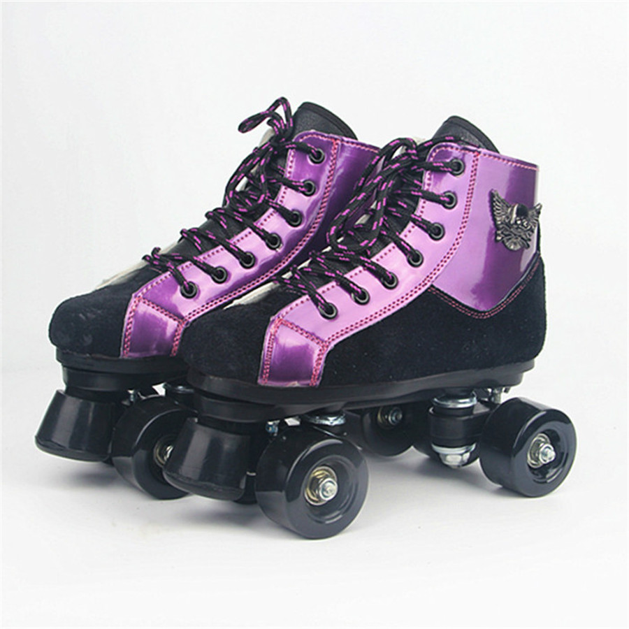 Roller Skates Black Purple Skull head With PU Wheels Double Line Skates Adult 4 Wheels Two line Roller Skating Shoes Patines 1 pair adult teenagers ice skate roller skating shoes adjustable washable pu wheels large size
