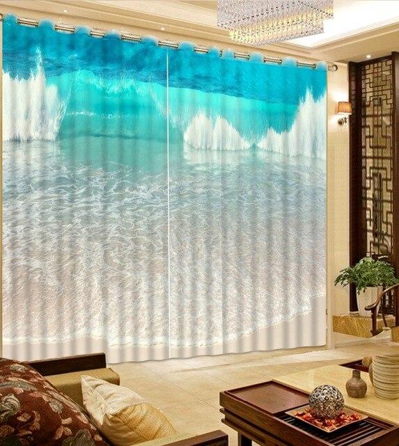 interieur moderne custom gordijnen zee strand blauwe golven photo print gordijnen 3d gordijnen blauw gordijnen woonkamer