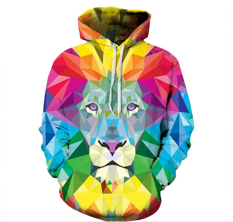 S-XXXL Autumn Winter Men/Women Hoodies Watercolor Colorful Blocks Lion 3D Print Sweatshirts Hooded Hoodies Pullovers With Hat