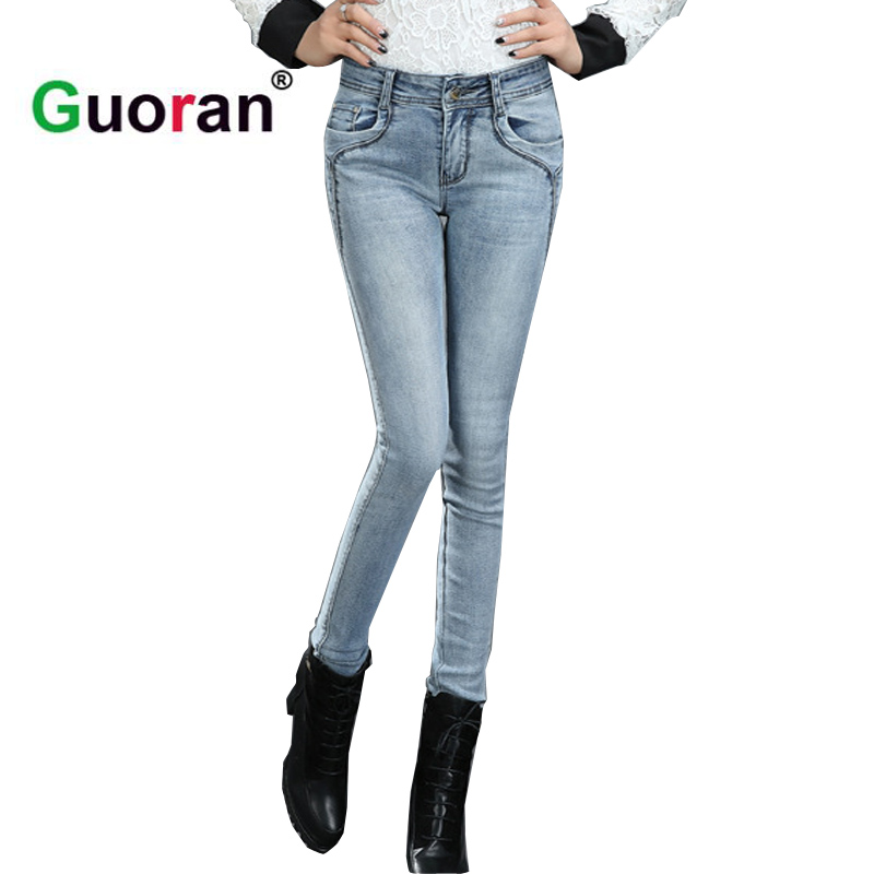 {Guoran} Skinny denim jeans pencil pants women Stretch ladies slim jeans leggings 2017 new plus size femme washed jeans trousers plus size pants the spring new jeans pants suspenders ladies denim trousers elastic braces bib overalls for women dungarees