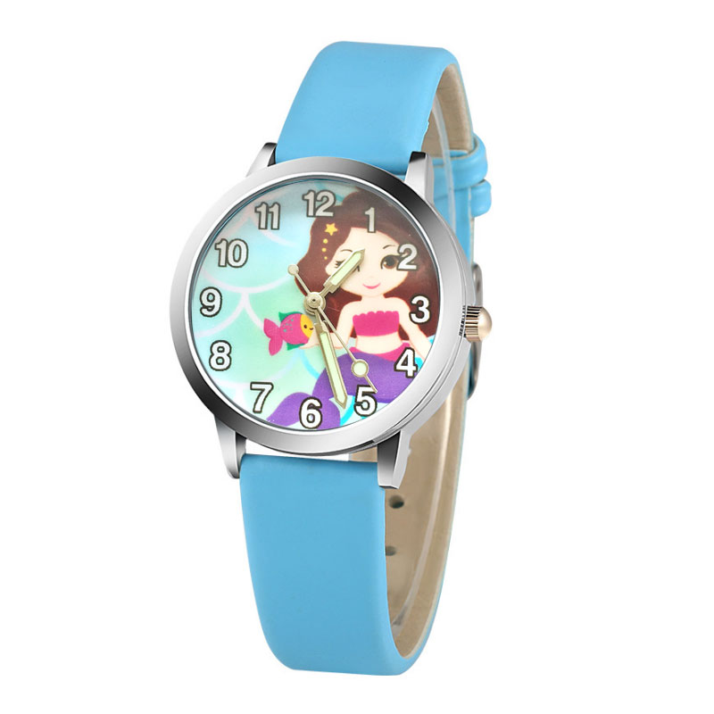 New Mermaid Cartoon Children's Watch Fashion  Girls Kids Student Cute Wrist Watches Hour Gift Relojes Boy Leather Clock