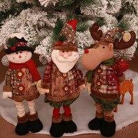 Standing Large Retractable Santa Claus/Snowman/Reindeer Figurine Christmas tree Ornaments Kids Christmas Gifts elf on the shelf