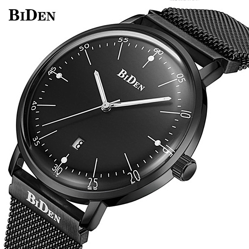 Ultra Thin Stainless Steel Mesh Band Quartz Watch Fashion casual Wrist watch BIDEN New Top Luxury Watch Men Brand Mens Watches longbo ultra thin stainless steel quartz wrist watch for men silver