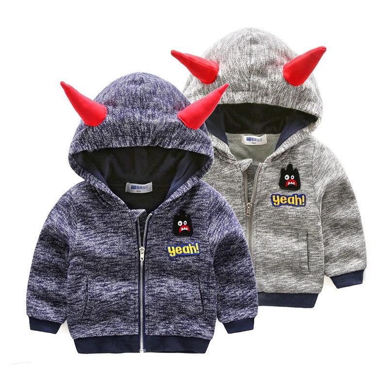 2017 Autumn children hoodies sweatshirt Boys girl cotton cartoon 3D monster dinosaurs baby toddler coat kids clothes Windbreake