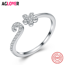 2018 New Arrivals Pure 925 Sterling Silver Plum Flower Rings For Women Adjustable Size Ring Fashion Inlaid Crystal Jewelry