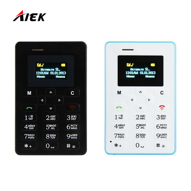 Russian Keyboard AIEK M5 Card Cell Phone 4 5mm Ultra Thin Pocket Mini Phone Quad Band