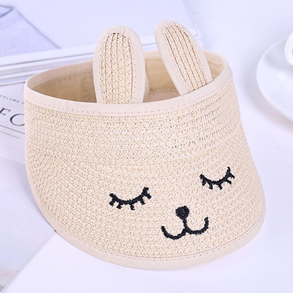 Mother & Kids Glorious Rabbit Ear Kids Hat Gift Empty Top Breathable Summer Foldable Cute Cartoon Beach Cap Fashion Travel Sunshade Wide Brim Straw