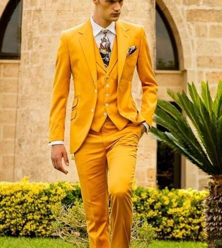 Mustard Yellow Fashion Men's Slim Fit Custom Suits Men Business Prom Wedding Suits 3 Pieces Set Traje Hombre Jacket Vest Pants