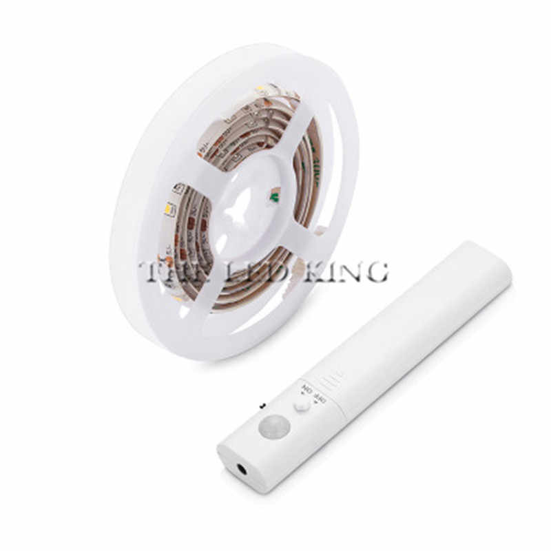 PIR Sensor Gerak Baterai Lampu LED Strip 2835 Tidak Tahan Air Tidur Kabinet Lemari Light 1 M 2 M 4m5m 5V LED Lampu Strip TV Backlight