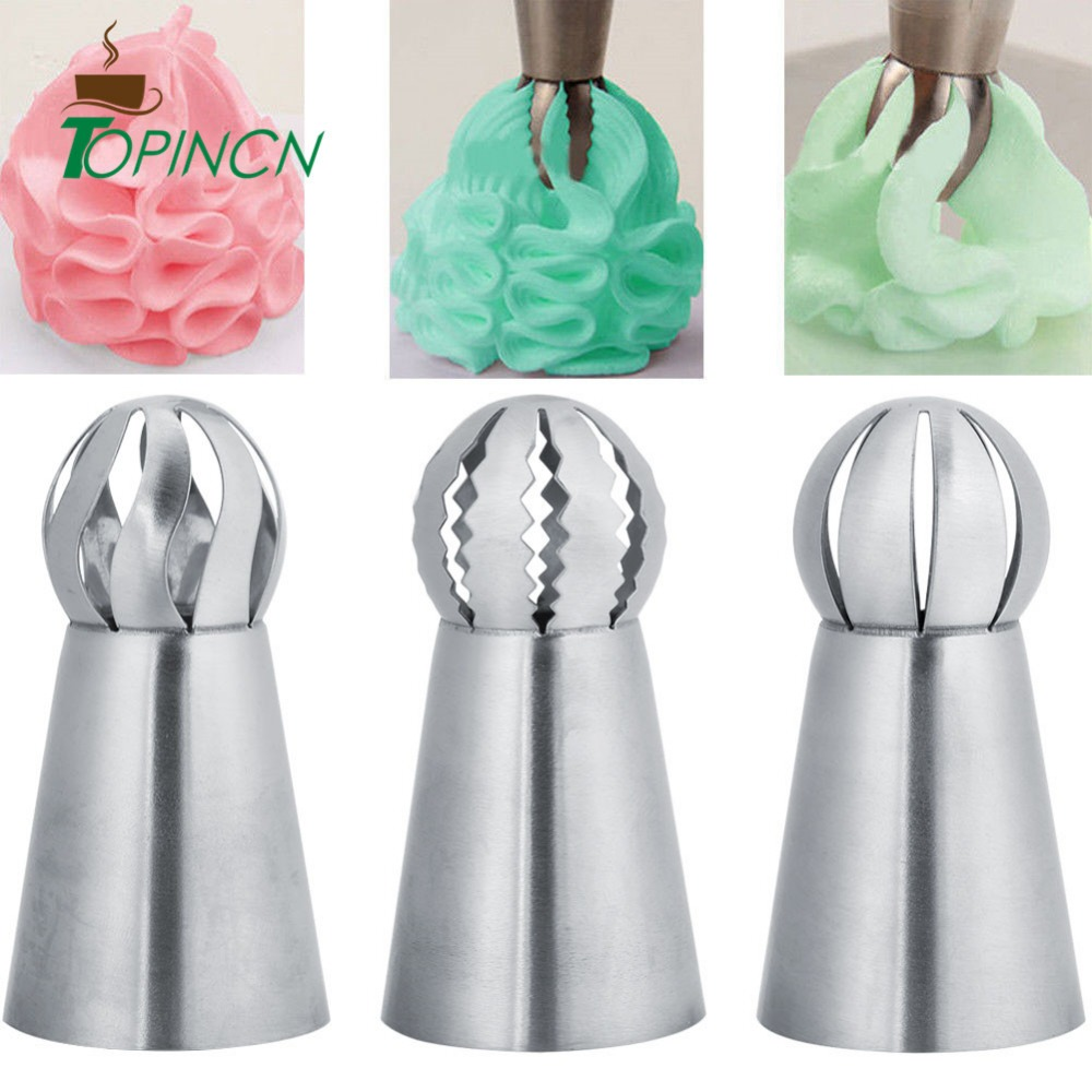 TOPINCN 3Pcs/Set Russian Flower Icing Piping Nozzles Tips