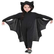 Child Animal Cosplay Cute Bat Costume Kids Halloween Costumes For Girls Black Jumpsuit Connect Wings Cosplay Batman CS23860