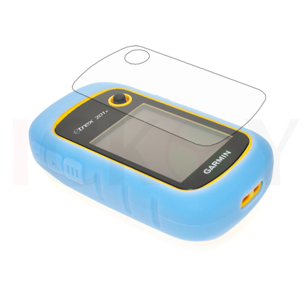 Outdoor Handheld GPS Silicon Rubber Protect Light Blue Case Cover + LCD Screen Protector for Garmin eTrex 10 20 30 10x 20x 30x