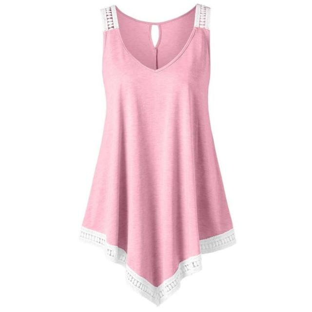 70d8425a56647 Fashion Womens Casual V-neck Swing Lace Asymmetrical Solid Vest Tank Tops  Blouse Irregular Strapless Blusa Feminina