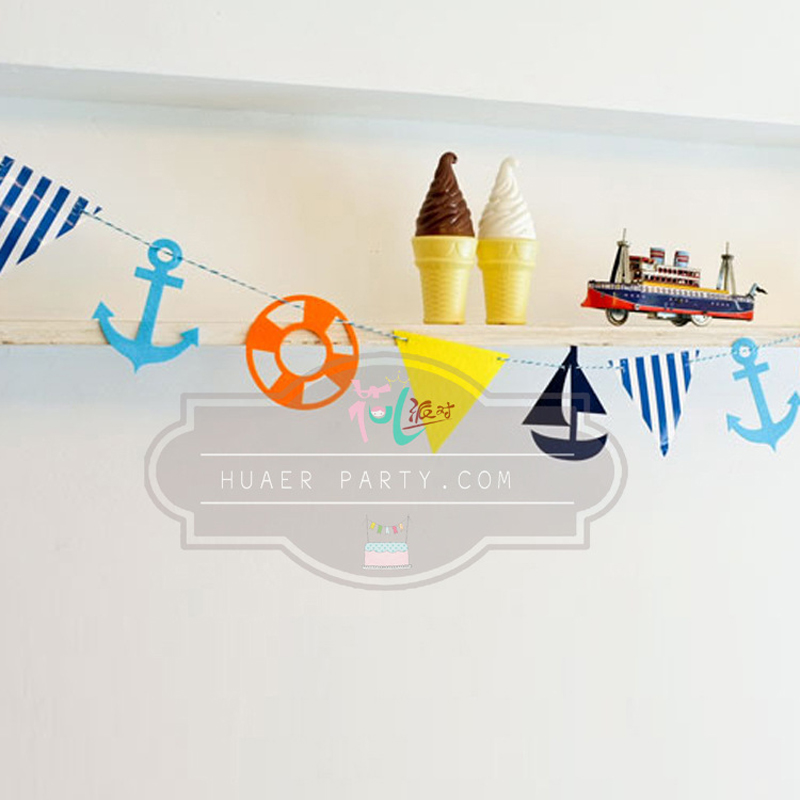 mediterranean style pendant non woven material nautical pennants birthday party decorations kids 50 - Nautical Party Decorations