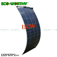 150W flexible solar panel 18V solar power Polycrystalline Semi Flexible Solar Panel 12V Battery Charger RV Boat Home solar panel