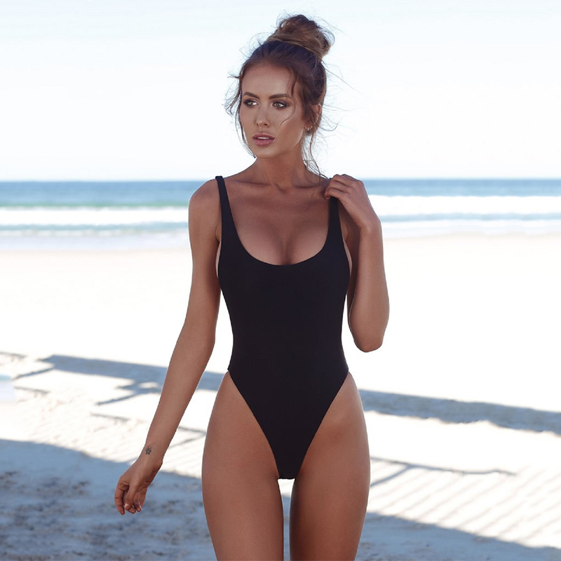 Wade Sea One Piece Swimsuits Sexy 2018 Solid Women Bathing Suits Backless Swimwear Female Biquini Summer Beach Wear 2