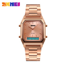 SKMEI Dual Time Sports Watches Men Fashion Casual Quartz Wristwatches Stainless Steel Strap Chronograph Waterproof Male