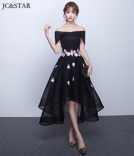 2018 Black Bridesmaid Dress Short Front Long Back Wedding Party ...