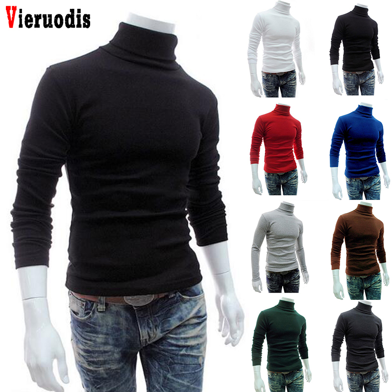 New Long Sleeve Men Turtleneck Sweater Solid Slim Fit Thin Knitted Pullover Mens Basic Style Sweaters Clothing Knitted Pullovers