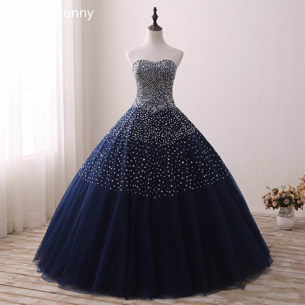 2019 Navy Blue Quinceanera Dresses for 15 years Backless Beaded Tulle Ball Gown Vestidos De 15 Anos Formal Party Gown