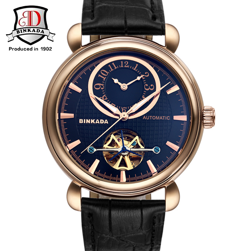 Mens Watches Automatic Mechanical Watch Tourbillon Clock Leather Casual Business Wristwatch relojes hombre Top Brand Dual Time binssaw 2016 men s watch automatic mechanical watch tourbillon clock leather casual business wristwatch relojes hombre top brand